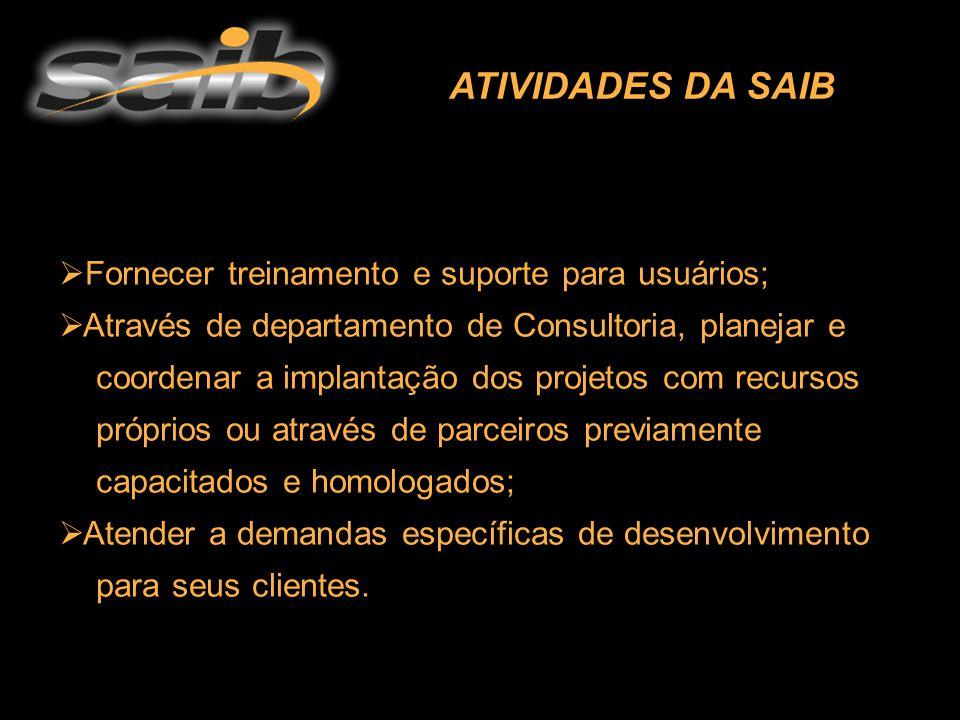 FORMAÇÃO BÁSICA  Será fornecido um treinamento completo sobre os produtos SAIB.