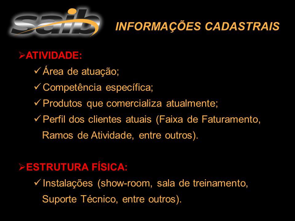 INFORMAÇÕES CADASTRAIS  ATIVIDADE: Área de atuação; Competência específica; Produtos que comercializa atualmente; Perfil dos clientes atuais (Faixa de Faturamento, Ramos de Atividade, entre outros).