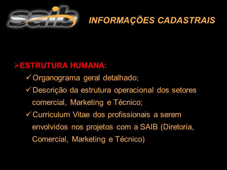 INFORMAÇÕES CADASTRAIS  ESTRUTURA HUMANA: Organograma geral detalhado; Descrição da estrutura operacional dos setores comercial, Marketing e Técnico;