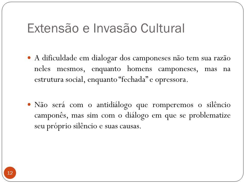 Extensão e Invasão Cultural A dificuldade em dialogar dos camponeses não tem sua razão neles mesmos, enquanto homens camponeses, mas na estrutura soci