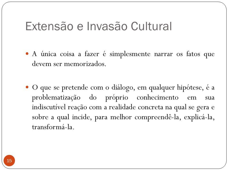 Extensão e Invasão Cultural A única coisa a fazer é simplesmente narrar os fatos que devem ser memorizados. O que se pretende com o diálogo, em qualqu