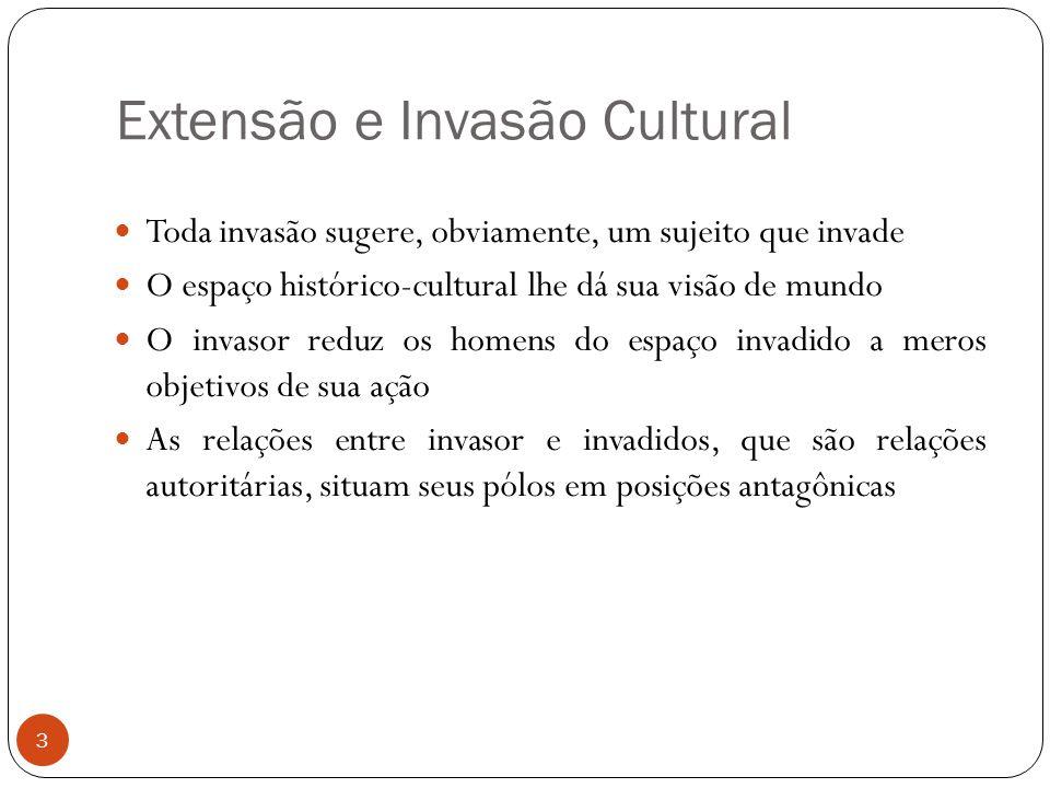 Extensão e Invasão Cultural Toda invasão sugere, obviamente, um sujeito que invade O espaço histórico-cultural lhe dá sua visão de mundo O invasor red