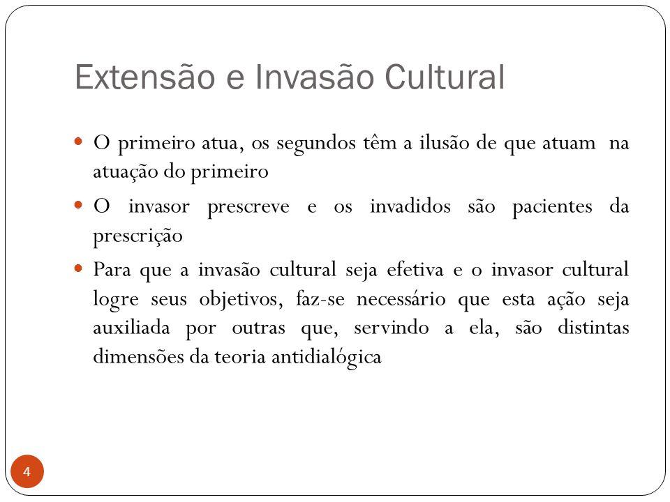 Extensão e Invasão Cultural O primeiro atua, os segundos têm a ilusão de que atuam na atuação do primeiro O invasor prescreve e os invadidos são pacie