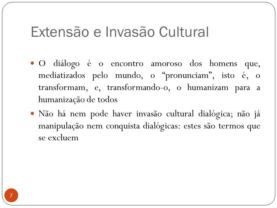 """Extensão e Invasão Cultural O diálogo é o encontro amoroso dos homens que, mediatizados pelo mundo, o """"pronunciam"""", isto é, o transformam, e, transfor"""