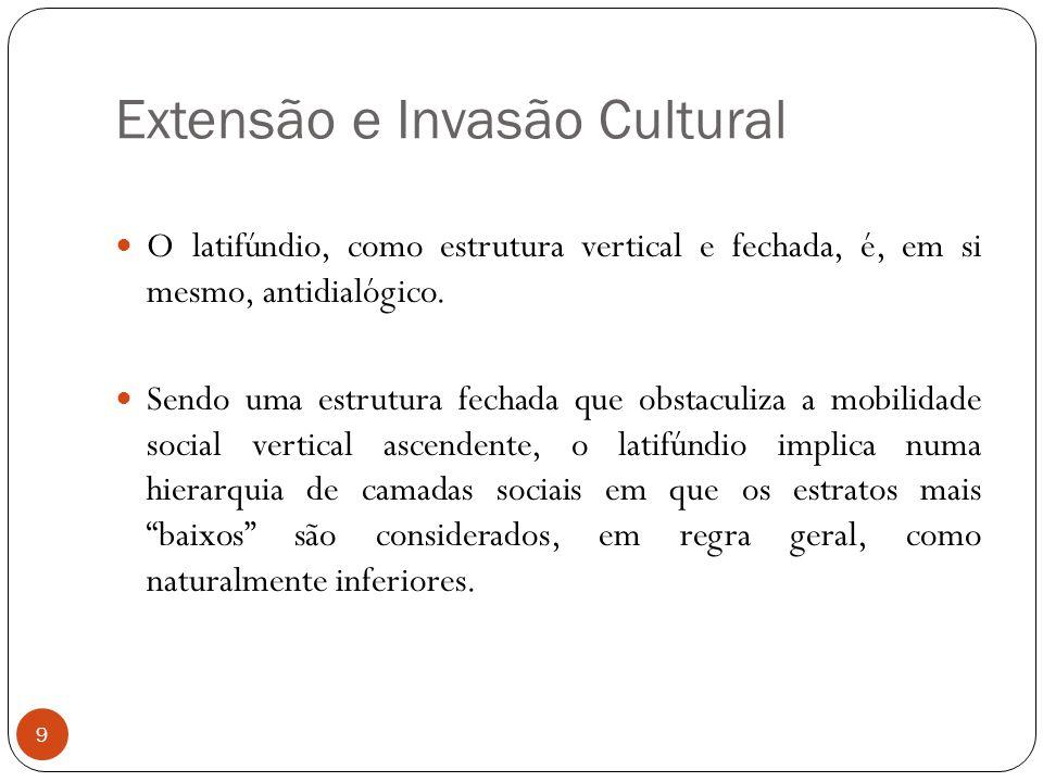 Extensão e Invasão Cultural O latifúndio, como estrutura vertical e fechada, é, em si mesmo, antidialógico. Sendo uma estrutura fechada que obstaculiz