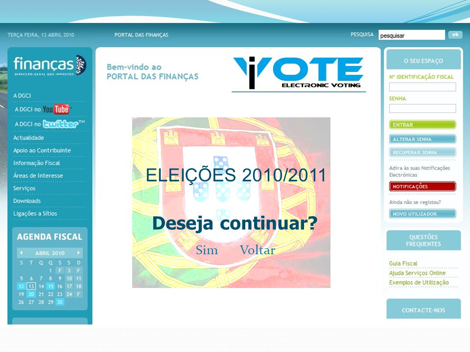 ELEIÇÕES 2010/2011 Deseja continuar VoltarSim