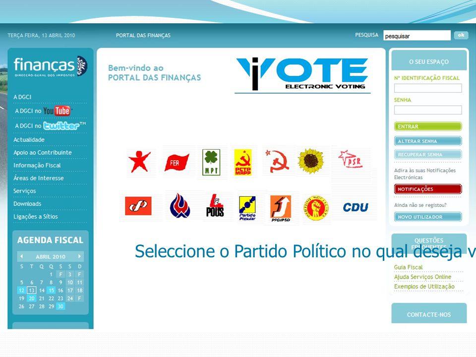 Seleccione o Partido Político no qual deseja votar
