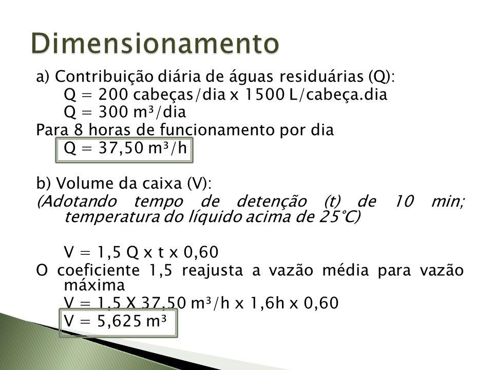 c) Dimensões da caixa (Considerando que a velocidade de ascensão das menores partículas é de 4 mm/s; a taxa de aplicação (l) será de 14,4 m³/m².h) - Área necessária (A) A = 1,5 Q (m³/h)/ l (m³/m².h) A = 1,5 x 37,50 (m³/h)/ 14,4 (m³/m².h) A = 3,90 m²