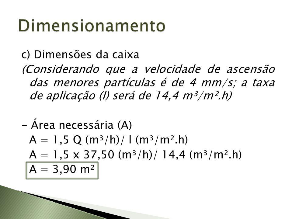 - Comprimento (L) e largura (B) (Adotando L=1,5B) A = L x B A = 1,5 B x B 3,90 m² = 1,5 B² B = 1,61 m L = 1,5 x 1,61 m L = 2,42 m - Altura da caixa (H) V = L x B x H 5,625 m³ = 2,42 m x 1,61 m x H H = 1,44 m