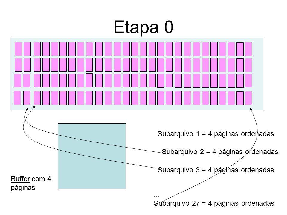 Algoritmo Input: Arquivo A com P páginas (em disco), B = nº de páginas livres no buffer Output: Arquivo A ordenado (em disco).