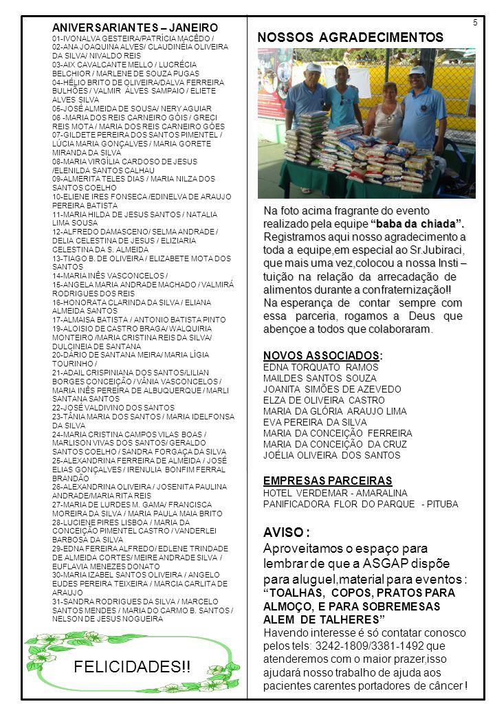 5 ANIVERSARIANTES – JANEIRO 01-IVONALVA GESTEIRA/PATRÍCIA MACÊDO / 02-ANA JOAQUINA ALVES/ CLAUDINÉIA OLIVEIRA DA SILVA/ NIVALDO REIS 03-AIX CAVALCANTE