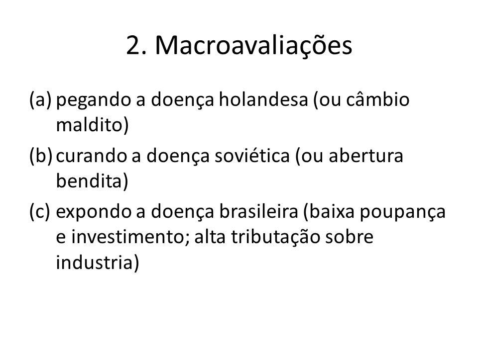 2. Macroavaliações (a)pegando a doença holandesa (ou câmbio maldito) (b)curando a doença soviética (ou abertura bendita) (c)expondo a doença brasileir