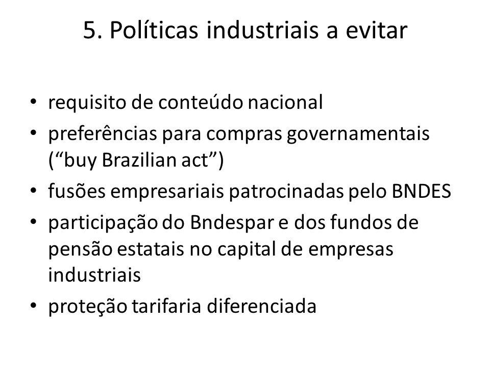 """5. Políticas industriais a evitar requisito de conteúdo nacional preferências para compras governamentais (""""buy Brazilian act"""") fusões empresariais pa"""