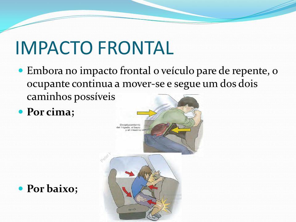 IMPACTO POSTERIOR As colisões com impacto posterior ocorrem quando um veículo ou um objeto em movimento lento ou parado é atingido por trás por um veículo com maior velocidade.