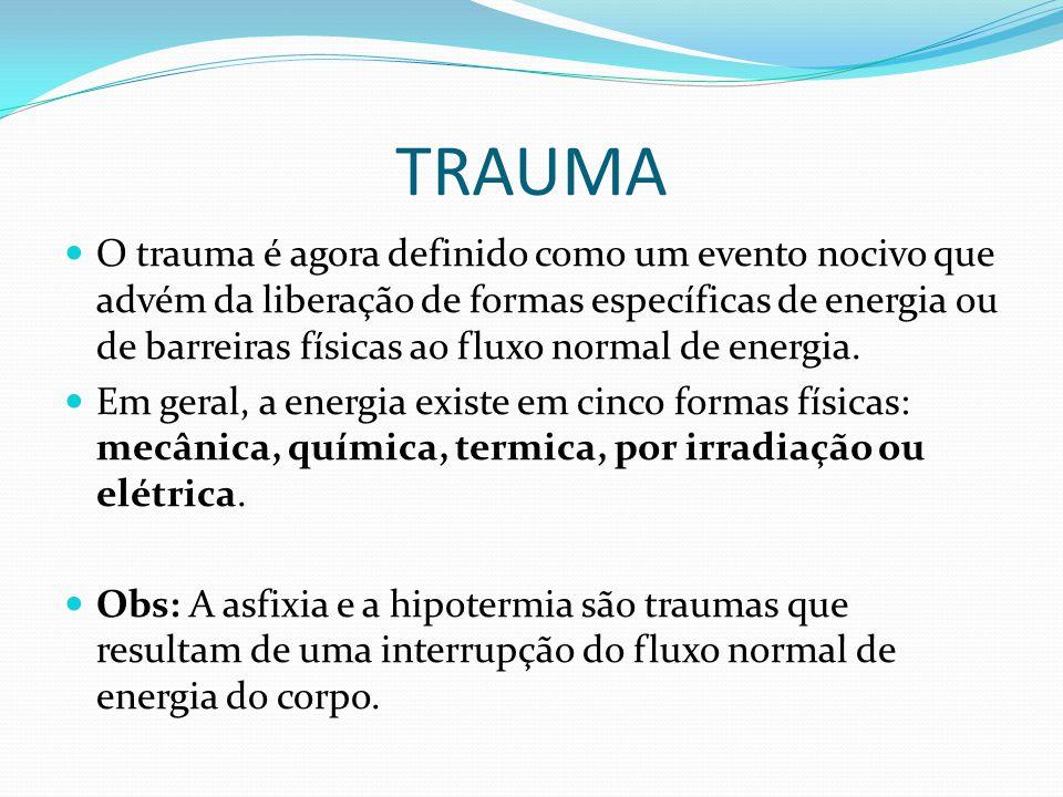 MORTES POR TRAUMA A morte decorrente de trauma é um grande problema de saúde no mundo inteiro, resultando em quase 14 mil mortes diárias.