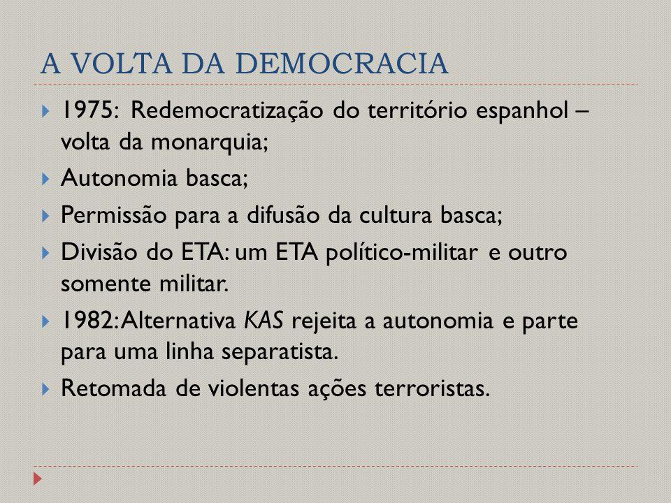 A VOLTA DA DEMOCRACIA  1975: Redemocratização do território espanhol – volta da monarquia;  Autonomia basca;  Permissão para a difusão da cultura b