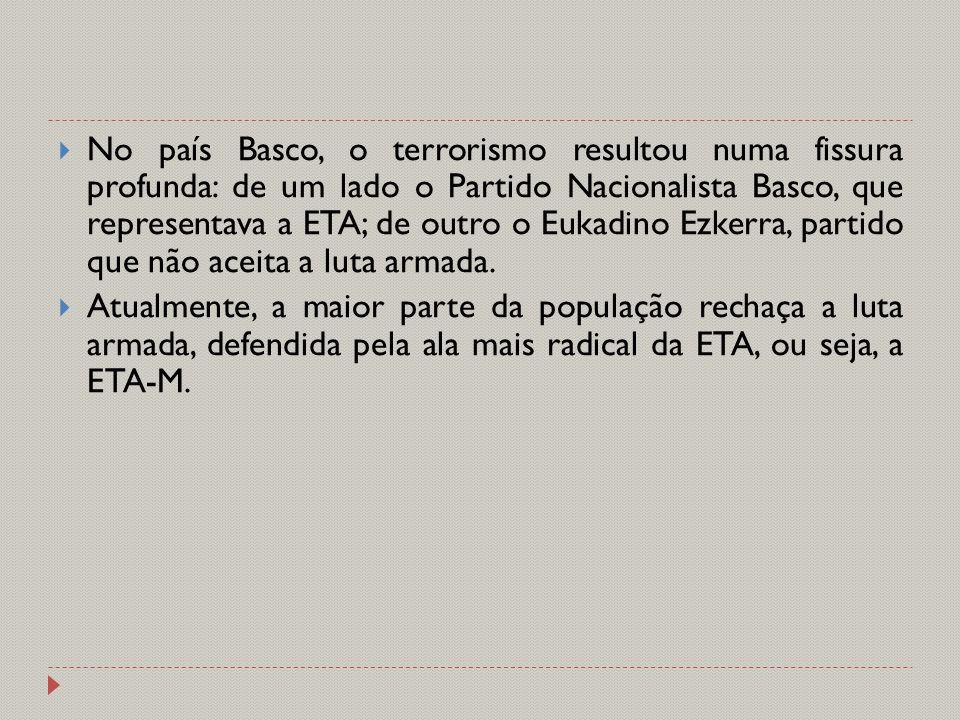  No país Basco, o terrorismo resultou numa fissura profunda: de um lado o Partido Nacionalista Basco, que representava a ETA; de outro o Eukadino Ezk