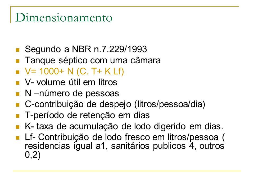 Dimensionamento Segundo a NBR n.7.229/1993 Tanque séptico com uma câmara V= 1000+ N (C. T+ K Lf) V- volume útil em litros N –número de pessoas C-contr