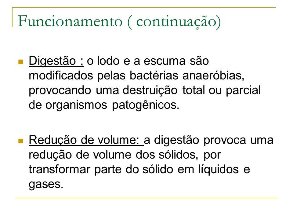 Funcionamento ( continuação) Digestão ; o lodo e a escuma são modificados pelas bactérias anaeróbias, provocando uma destruição total ou parcial de or