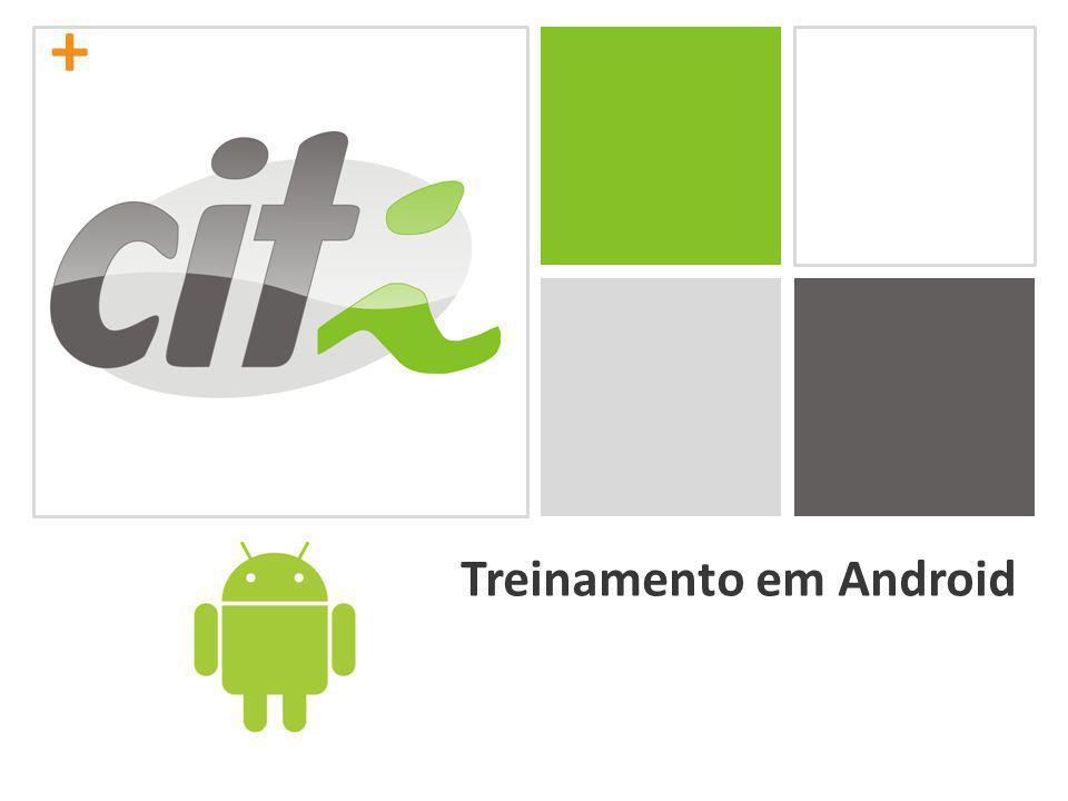 + Aplicação de compras No arquivo activity_main.xml, adicionaremos os seguintes elementos, em ordem: CheckBox Text: Arroz (R$ 2,69) Id: @+id/chkArroz CheckBox Text: Leite (R$ 5,00) Id: @+id/chkLeite CheckBox Text: Carne (R$ 9,70) Id: @+id/chkCarne CheckBox Text: Feijão (R$ 2,30) Id: @+id/chkFeijao Button Text: Total das compras Id: @+id/bTotal Layout width: fill_parent