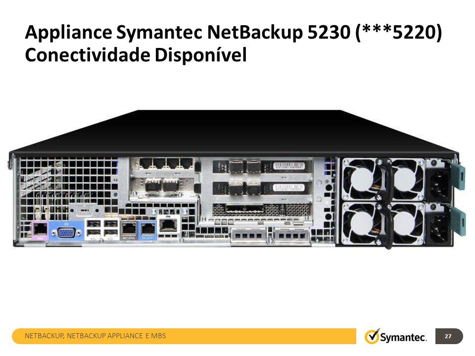 27 Appliance Symantec NetBackup 5230 (***5220) Conectividade Disponível NETBACKUP, NETBACKUP APPLIANCE E MBS