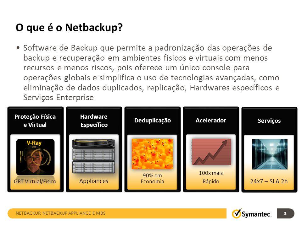 O que é o Netbackup? Software de Backup que permite a padronização das operações de backup e recuperação em ambientes físicos e virtuais com menos rec