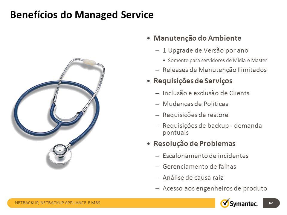 42 Benefícios do Managed Service Manutenção do Ambiente – 1 Upgrade de Versão por ano Somente para servidores de Mídia e Master – Releases de Manutenç