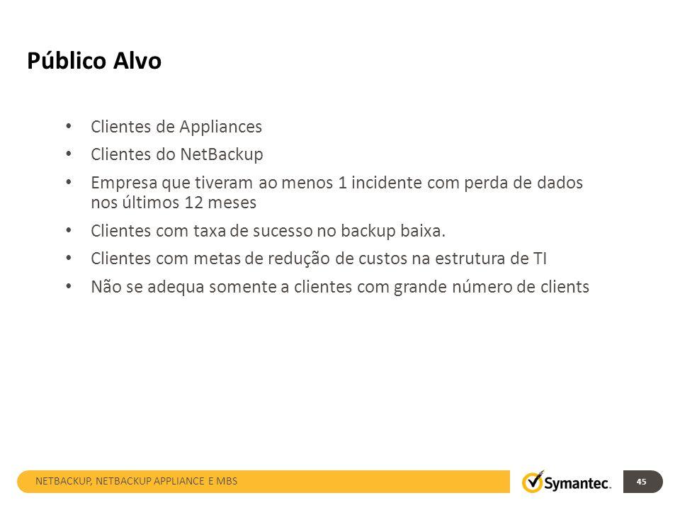 Público Alvo 45 Clientes de Appliances Clientes do NetBackup Empresa que tiveram ao menos 1 incidente com perda de dados nos últimos 12 meses Clientes