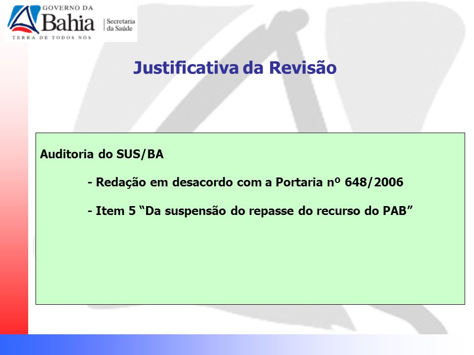 """Justificativa da Revisão Auditoria do SUS/BA - Redação em desacordo com a Portaria nº 648/2006 - Item 5 """"Da suspensão do repasse do recurso do PAB"""""""