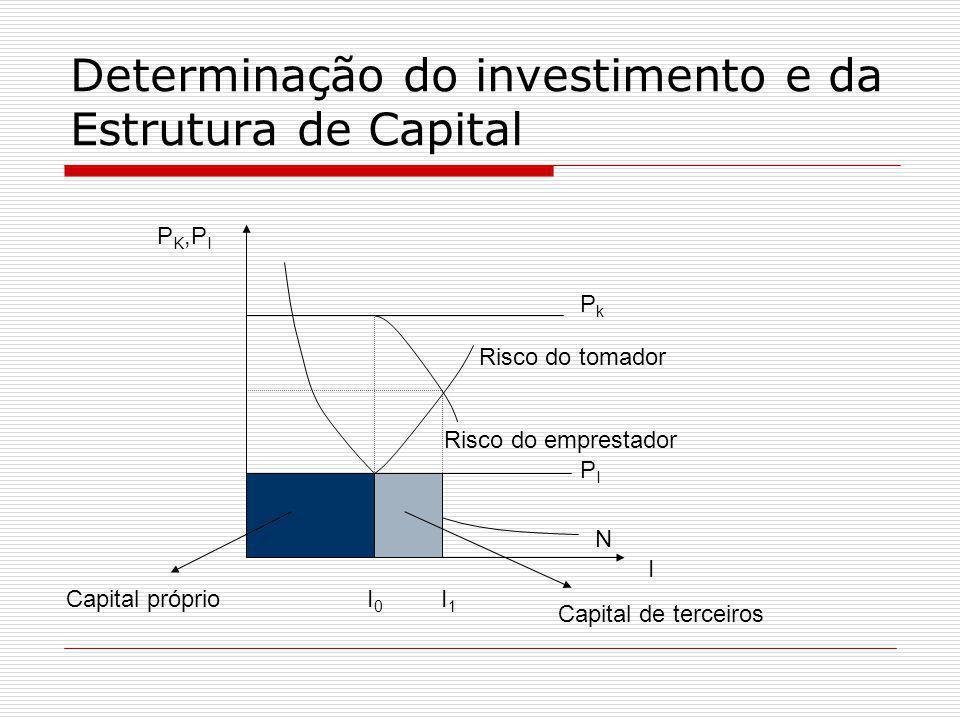Determinação do investimento e da Estrutura de Capital PkPk PIPI I I 0 I 1 N P K,P I Risco do emprestador Risco do tomador Capital próprio Capital de