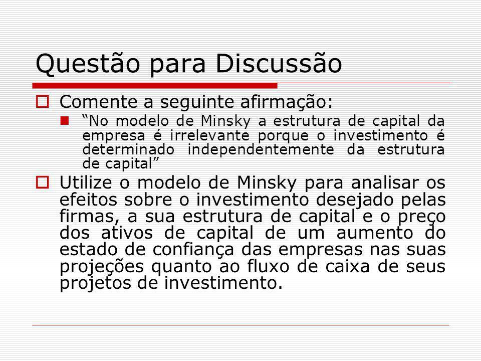 """Questão para Discussão  Comente a seguinte afirmação: """"No modelo de Minsky a estrutura de capital da empresa é irrelevante porque o investimento é de"""