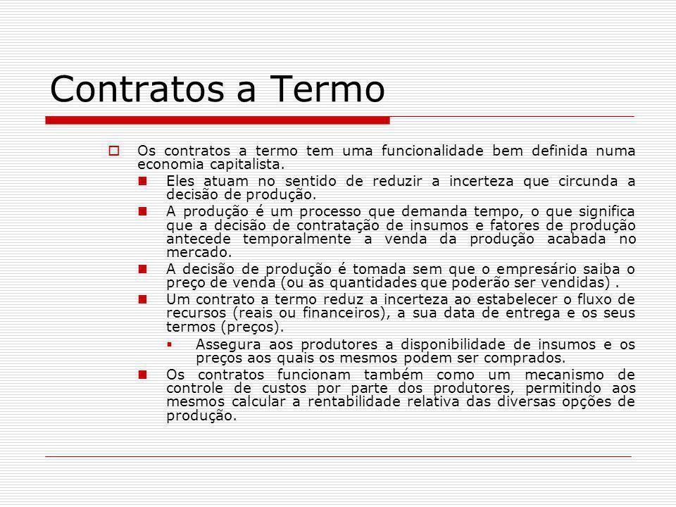 Contratos a Termo  Os contratos a termo tem uma funcionalidade bem definida numa economia capitalista. Eles atuam no sentido de reduzir a incerteza q