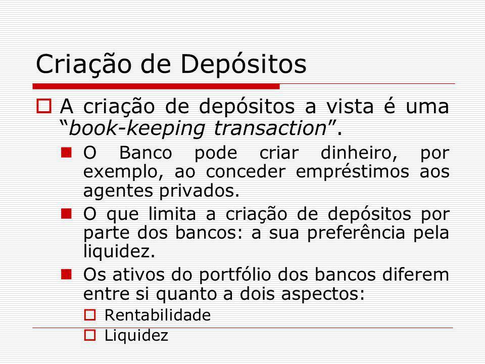 """Criação de Depósitos  A criação de depósitos a vista é uma """"book-keeping transaction"""". O Banco pode criar dinheiro, por exemplo, ao conceder emprésti"""