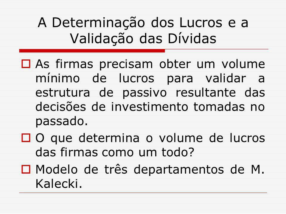 A Determinação dos Lucros e a Validação das Dívidas  As firmas precisam obter um volume mínimo de lucros para validar a estrutura de passivo resultan