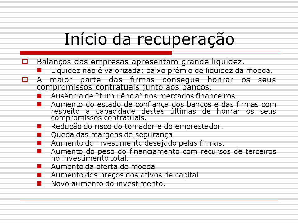 Início da recuperação  Balanços das empresas apresentam grande liquidez. Liquidez não é valorizada: baixo prêmio de liquidez da moeda.  A maior part