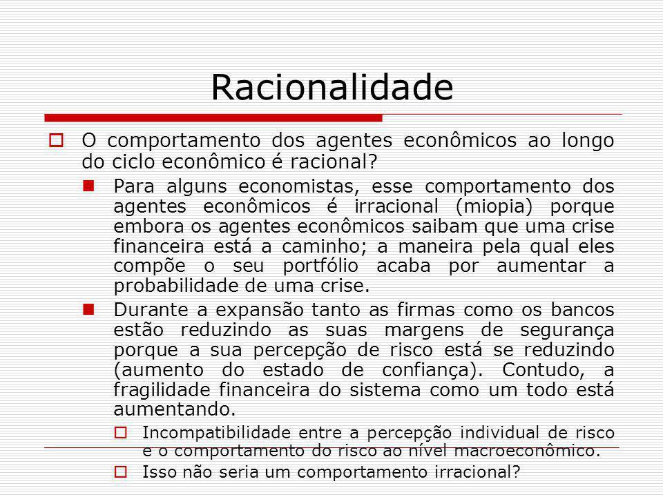 Racionalidade  O comportamento dos agentes econômicos ao longo do ciclo econômico é racional? Para alguns economistas, esse comportamento dos agentes