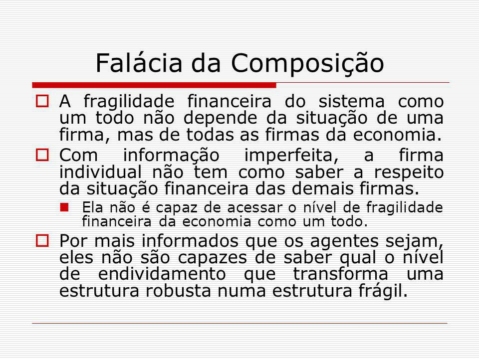 Falácia da Composição  A fragilidade financeira do sistema como um todo não depende da situação de uma firma, mas de todas as firmas da economia.  C