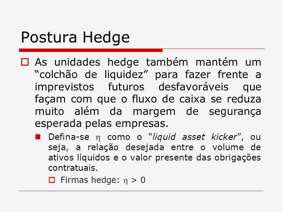 """Postura Hedge  As unidades hedge também mantém um """"colchão de liquidez"""" para fazer frente a imprevistos futuros desfavoráveis que façam com que o flu"""