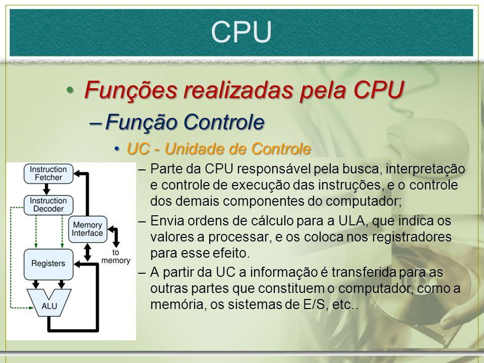 CPU Funções realizadas pela CPUFunções realizadas pela CPU –Função Controle UC - Unidade de ControleUC - Unidade de Controle –Parte da CPU responsável