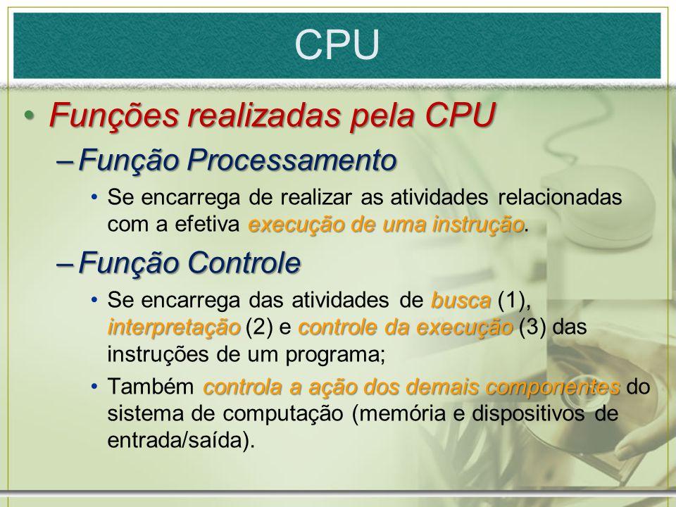 CPU Funções realizadas pela CPUFunções realizadas pela CPU –Função Processamento execução de uma instruçãoSe encarrega de realizar as atividades relac