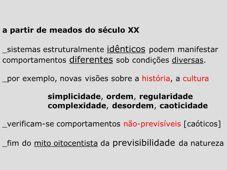 a partir de meados do século XX _sistemas estruturalmente idênticos podem manifestar comportamentos diferentes sob condições diversas.