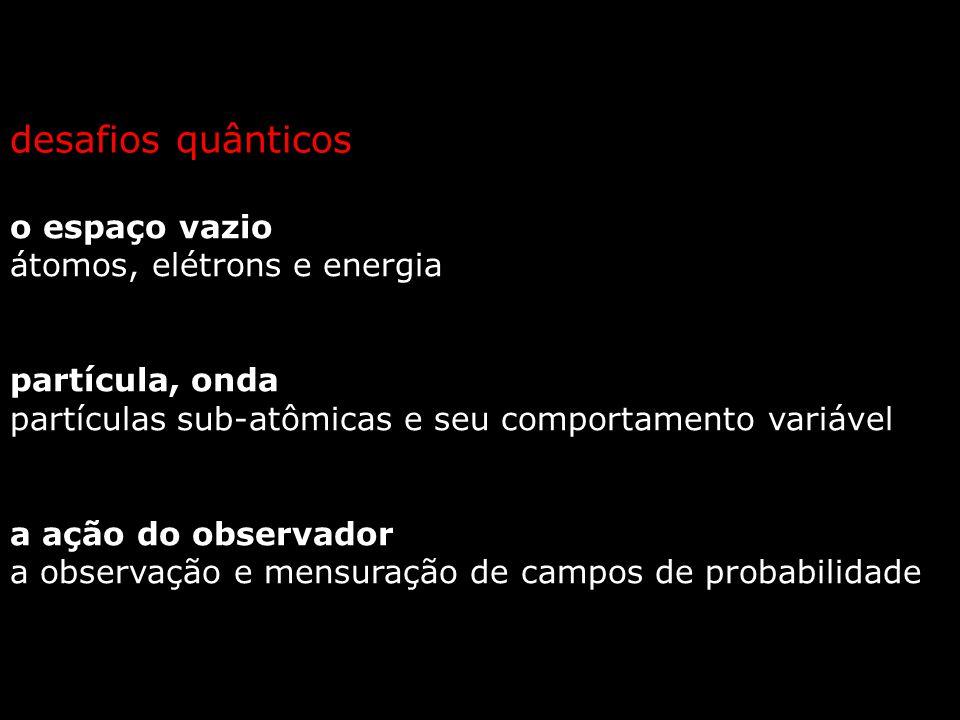 o espaço vazio átomos, elétrons e energia partícula, onda partículas sub-atômicas e seu comportamento variável a ação do observador a observação e mensuração de campos de probabilidade desafios quânticos