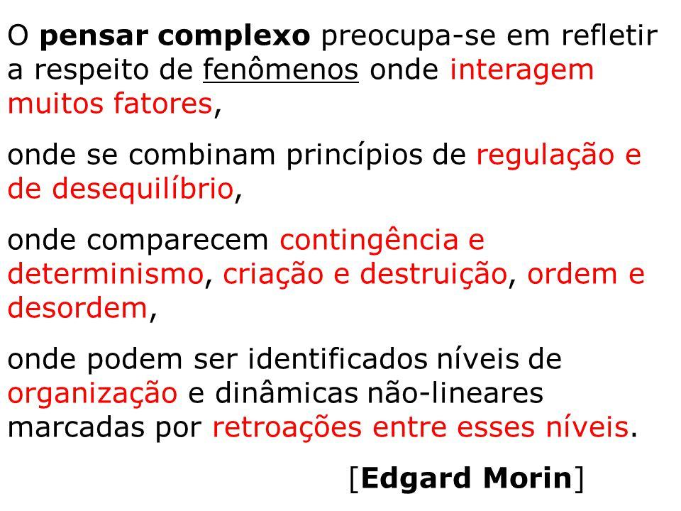 O pensar complexo preocupa-se em refletir a respeito de fenômenos onde interagem muitos fatores, onde se combinam princípios de regulação e de desequi