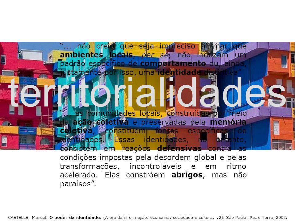 """territorialidades CASTELLS, Manuel. O poder da identidade. (A era da informação: economia, sociedade e cultura; v2). São Paulo: Paz e Terra, 2002. """".."""