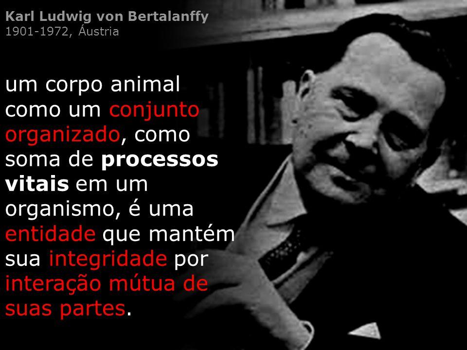 Karl Ludwig von Bertalanffy 1901-1972, Áustria um corpo animal como um conjunto organizado, como soma de processos vitais em um organismo, é uma entid