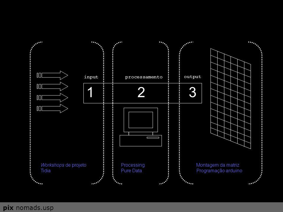 1 2 3 inputprocessamento output etapa I Montagem da matriz Programação arduino etapa II Processing Pure Data pix nomads.usp etapa III Workshops de pro
