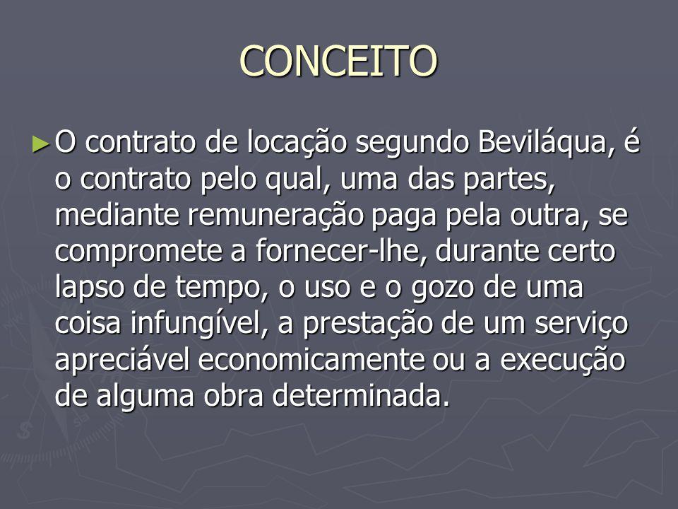 CONCEITO ► O contrato de locação segundo Beviláqua, é o contrato pelo qual, uma das partes, mediante remuneração paga pela outra, se compromete a forn