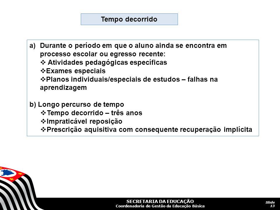 SECRETARIA DA EDUCAÇÃO Coordenadoria de Gestão da Educação Básica Slide 13 Tempo decorrido a)Durante o período em que o aluno ainda se encontra em pro