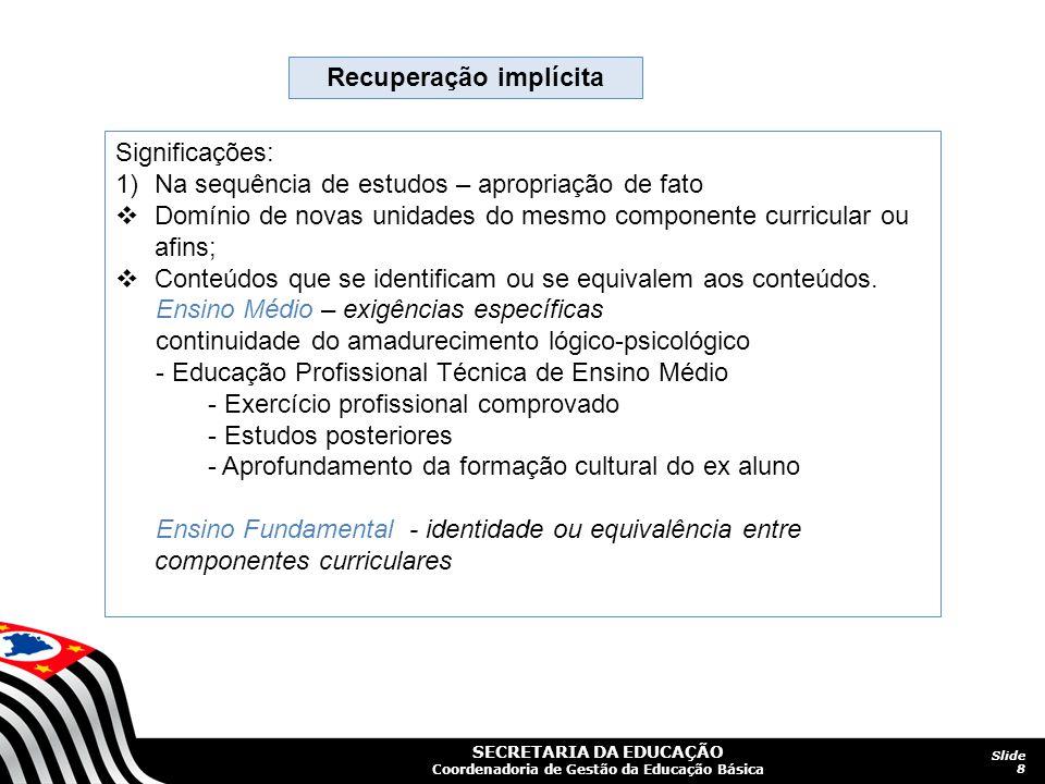 SECRETARIA DA EDUCAÇÃO Coordenadoria de Gestão da Educação Básica Slide 8 Recuperação implícita Significações: 1)Na sequência de estudos – apropriação