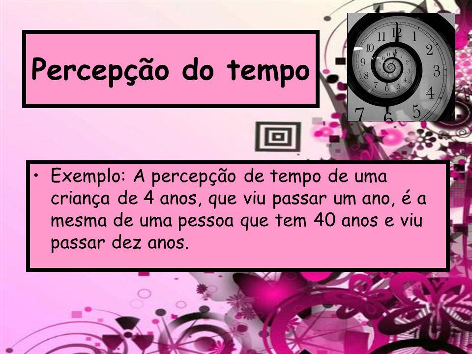 Percepção do tempo Exemplo: A percepção de tempo de uma criança de 4 anos, que viu passar um ano, é a mesma de uma pessoa que tem 40 anos e viu passar